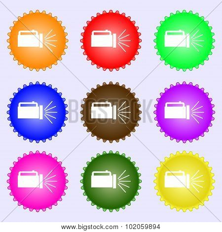 Flashlight Icon Sign. A Set Of Nine Different Colored Labels. Vector