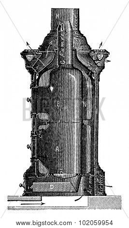 Stove hot air blower, Haillot system, vintage engraved illustration. Industrial encyclopedia E.-O. Lami - 1875.