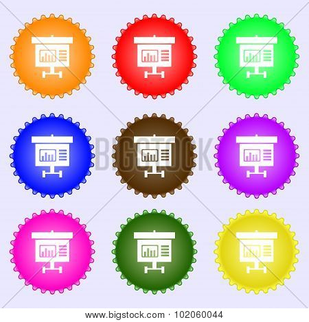 Graph Icon Sign. A Set Of Nine Different Colored Labels. Vector