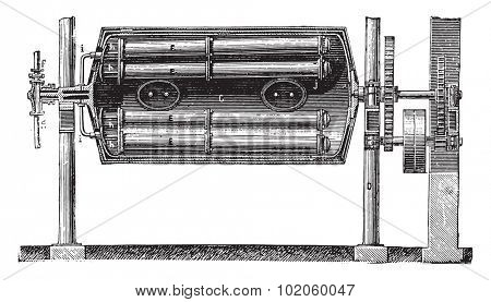 Boiler body - Heating pipes, arrival tubes of steam and laundry, steam distribution pipes, vintage engraved illustration. Industrial encyclopedia E.-O. Lami - 1875.
