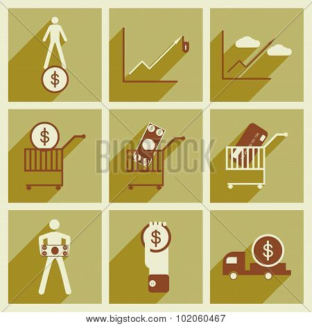 Modern collection flat icons with shadow economics and finance