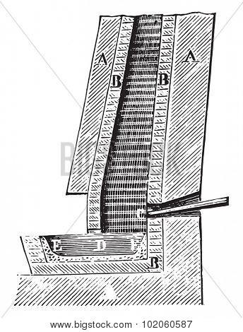Oven gate copper ore (Sweden), vintage engraved illustration. Industrial encyclopedia E.-O. Lami - 1875.