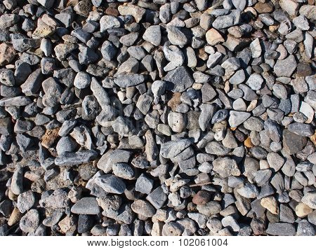 Background From Small Gray Stones On The Coast