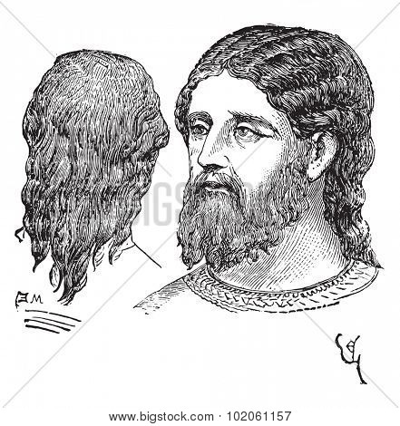 Man of noble hairstyle, vintage engraved illustration. Industrial encyclopedia E.-O. Lami - 1875.