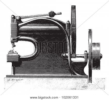 Mechanically operated shears, vintage engraved illustration. Industrial encyclopedia E.-O. Lami - 1875.