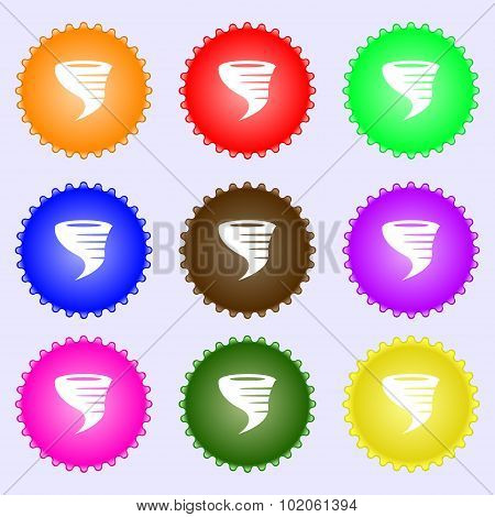 Tornado Icon. A Set Of Nine Different Colored Labels. Vector