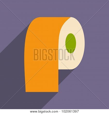 Flat with shadow icon and mobile application paper roll