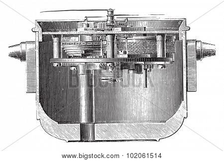 Marine chronometer in his suspension box, vintage engraved illustration. Industrial encyclopedia E.-O. Lami - 1875.