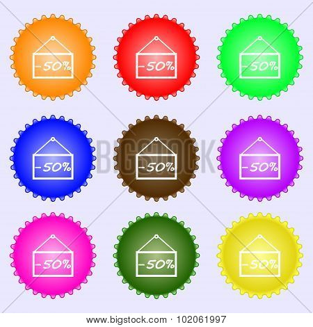 50 Discount Icon Sign. A Set Of Nine Different Colored Labels. Vector