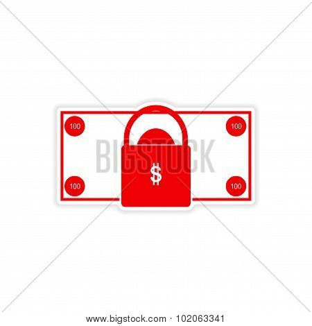 stylish sticker on paper bill and lock