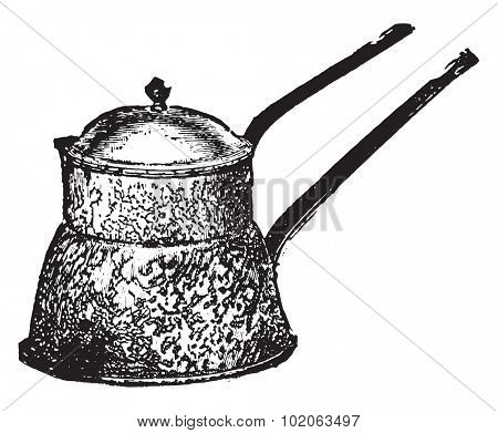 Agateware water bath (Ferina kettle), vintage engraved illustration.