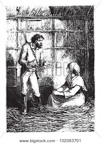 And who would buy a white?, vintage engraved illustration.