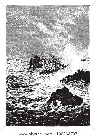 In this place, the sea was more furious, vintage engraved illustration.