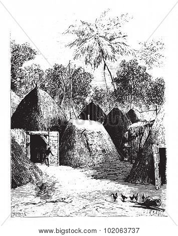 City Kazounde presents an unusual appearance, vintage engraved illustration.