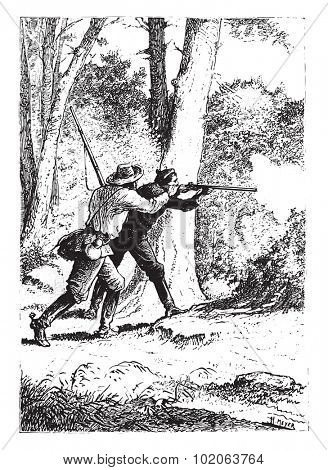 No gunshot, vintage engraved illustration.