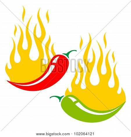 Two Chili Peppers In Fire