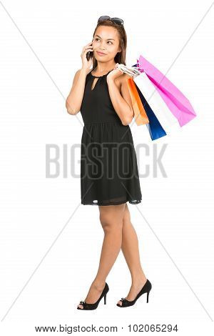 Asian Female Shopper Casual Cell Phone Talking V