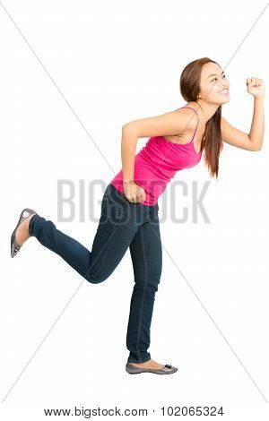 Running Asian Woman Chasing Object Side Profile