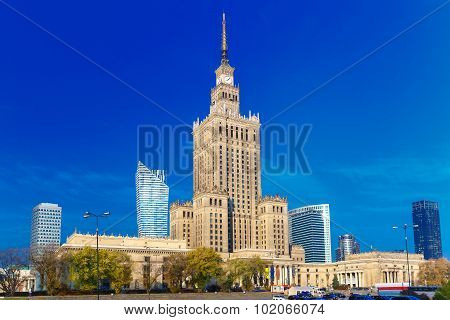 Palace of Culture and Science in Warsaw city downtown, Poland.