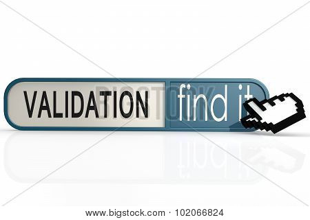 Validation Word On The Blue Find It Banner