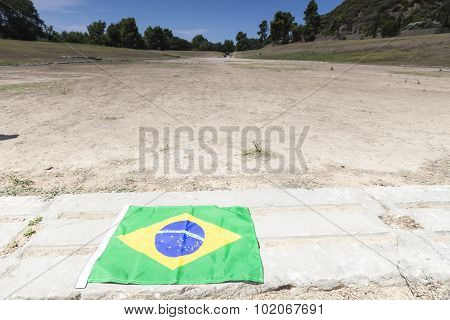 The Brazilian Flag For The Next Olympics At Olympia, Birthplace Of The Olympic Games, In Greece.