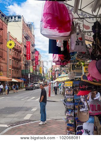 NEW YORK,USA - AUGUST 21,2015 : Souvenirs for sale at Little Italy in Manhattan
