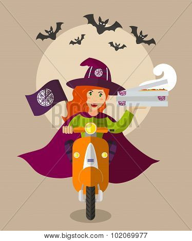 Halloween Wizard Food delivery girl On Scooter With Boxes Of Pizza