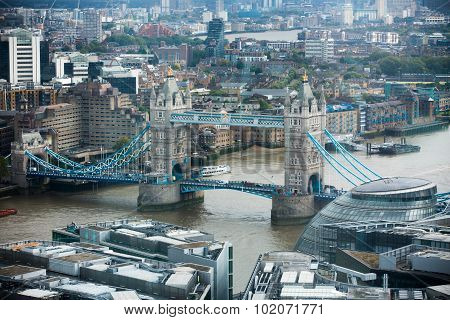 LONDON, UK - SEPTEMBER 17, 2015: City of London panorama with Tower bridge