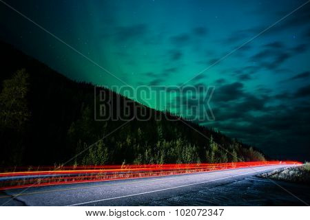 Highway Traffic Northern Lights Aurora Borealis Alaska Night Sky