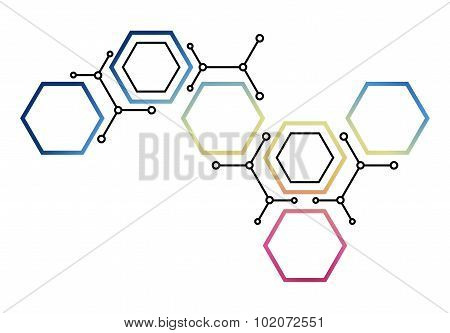 Abstract Background With Colored Hexagons. Communication Theme. Cells