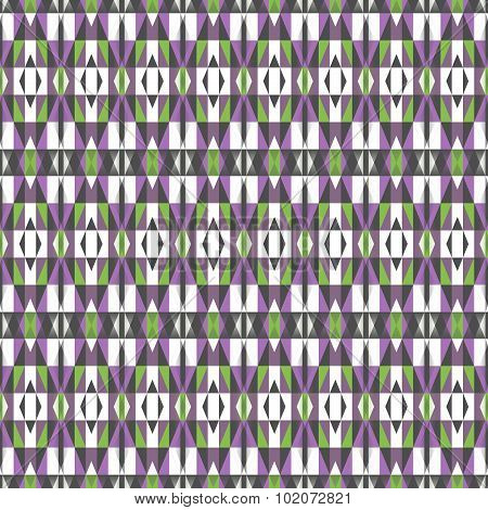 Seamless Geometrical Pattern In Violet, White, Green And Dark Grey