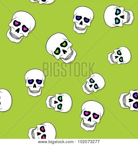 Seamless Pattern With Skulls And Hearts On Green
