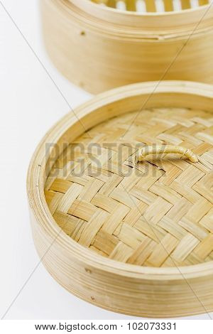 Close Up Bamboo Steamer On White Background