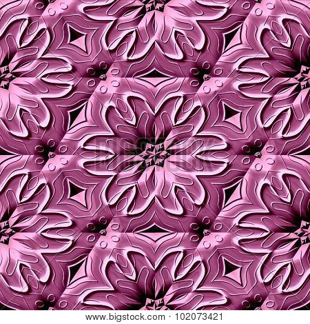 Seamless Relief Ornamental Pattern In Pink Spectrum