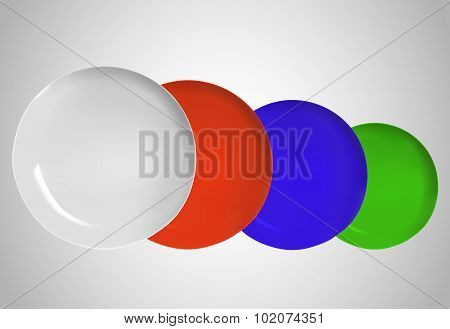 Empty Color Round Plates On White Background