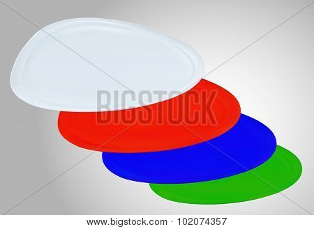 Empty Color Triangle Plates On White Background