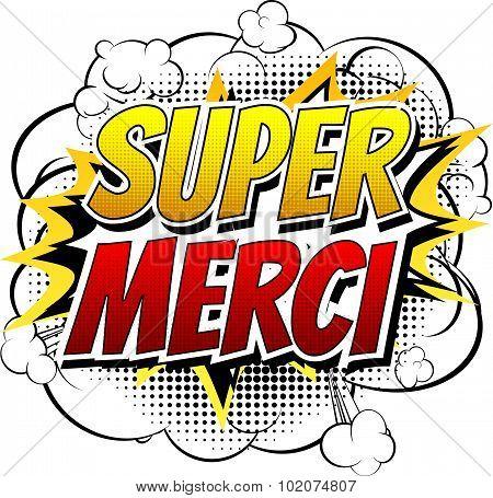Super Merci - Comic book style word