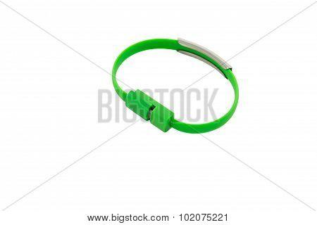 Wrist Band Green Wire Usb