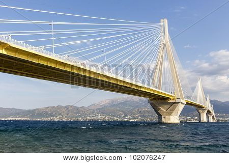 Suspension Bridge Crossing Corinth Gulf Strait, Greece. Is The World's Second Longest Cable-stayed B