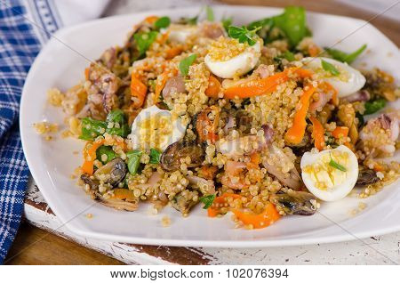 Seafood Salad With Quinoa And Quail Eggs.