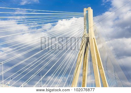 Cables And Supports Of Bridge Rio-antirio In Greece Against Blue Sky
