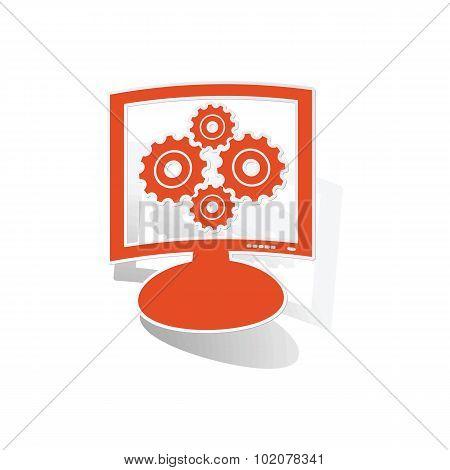 Gears monitor sticker, orange