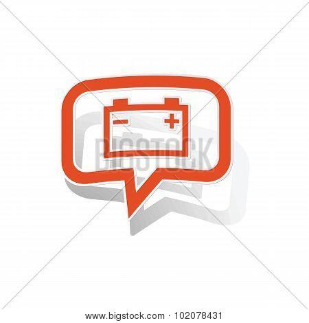 Accumulator message sticker, orange