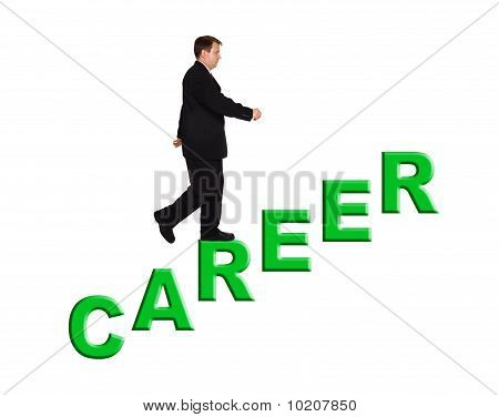 Businessman And Stairs Career