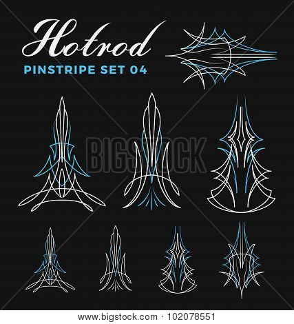 Set Of Vintage Pin Striping Line Art.