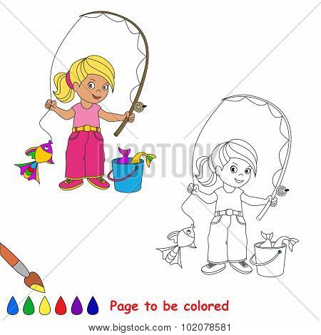One cartoon baby fisher girl catch fish