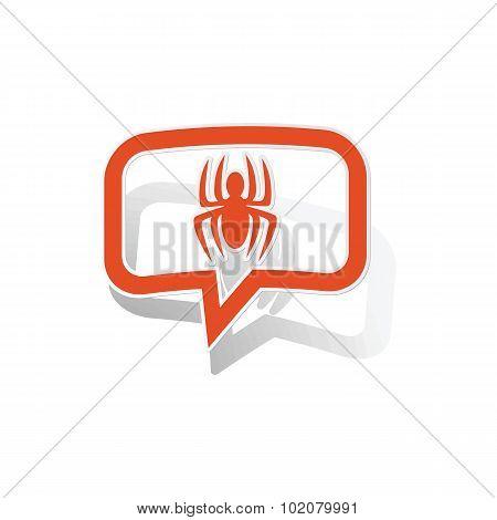Spider message sticker, orange