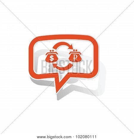 Dollar-rouble trade message sticker, orange