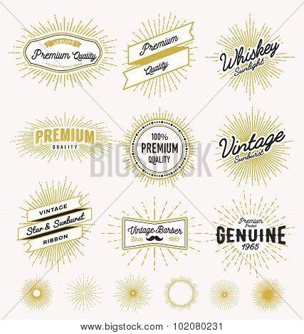 Set Of Vintage Sunburst Frame And Label Design.