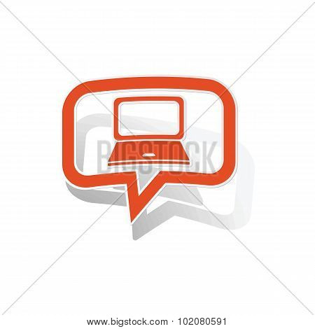 Laptop message sticker, orange
